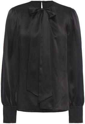 Elie Tahari Bali Pussy-bow Silk-satin Shirt