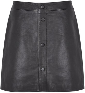 Mint Velvet Leather Mini Skirt - Black