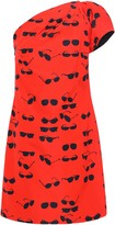 Victoria Victoria Beckham Victoria, Victoria Beckham One-shoulder Printed Cotton-blend Taffeta Mini Dress