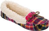 Dearfoams Women's Mixed Material Moccasin Slipper