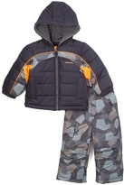 London Fog Navy Geometric Puffer Coat & Snow Pants - Infant & Boys