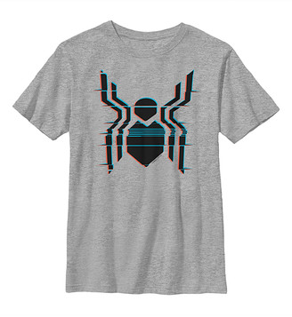 Fifth Sun Boys' Tee Shirts ATH - Spider-Man: Far from Home Athletic Heather Glitch Spider Logo Tee - Boys