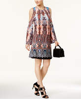 ECI Ikat-Print Cold-Shoulder Shift Dress
