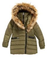 KensieGirl Girl's Puffer Jacket With Faux Fur Trim