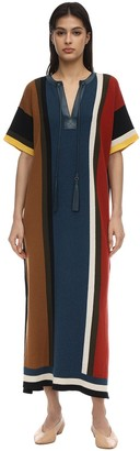 Salvatore Ferragamo WOOL & COTTON KNIT DRESS W/ TASSELS