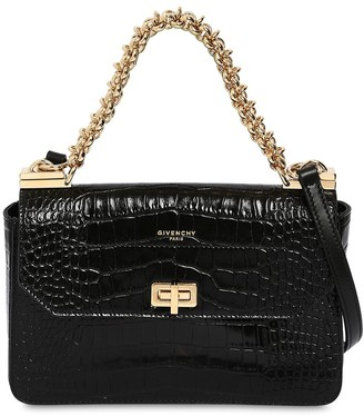 Givenchy Sm Croc Embossed Chain Leather Bag