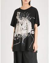 Yohji Yamamoto Pigment logo-print cotton-jersey T-shirt