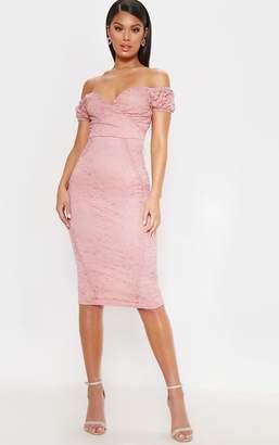PrettyLittleThing Rose Lace Bardot Wrap Midi Dress
