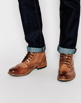 Ted Baker Sealls Leather Brogue Boots - Brown