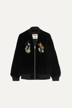 Stella McCartney The Beatles Embroidered Cotton-velvet Bomber Jacket - Black