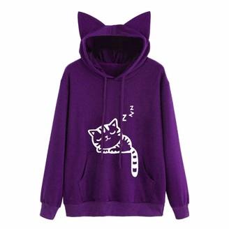 JURTEE Women's Blouse Autumn Winter Ladies Cat Long Sleeve Hoodie Sweatshirt Hooded Pullover Tops Blouse Purple