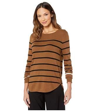 Elliott Lauren Fine Gauge Luxe Striped Crew Neck Sweater (Camel/Black) Women's Sweater