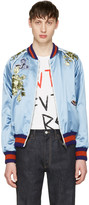 Gucci Blue Embroidered Silk Bomber Jacket