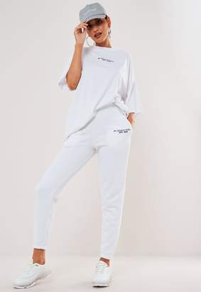 Missguided White Marl Basic Branded Joggers