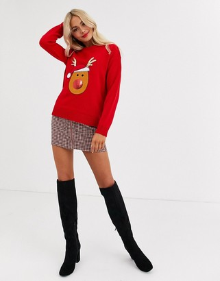 Brave Soul reindeer christmas jumper with sequin detail-Red