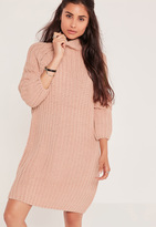 Missguided Oversize Mini Sweater Dress Pink