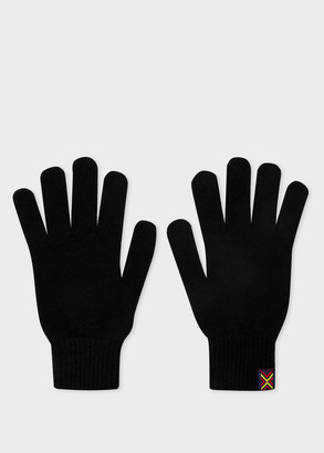 Paul Smith Men's Black Lambswool Gloves With Tape Trim
