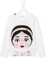 Dolce & Gabbana girl face T-shirt - kids - Silk/Cotton - 4 yrs
