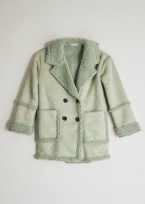 Which We Want Women's Amelia Faux Suede Coat in Sage, Size Medium
