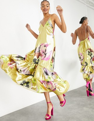 ASOS EDITION trapeze maxi dress with tiered hem in gold metallic floral print