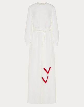 Valentino Cady Couture Jumpsuit With V Intarsia Women Ivory/red Silk 100% 36