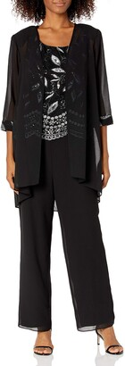 Le Bos Women's Sequin embroiodered 3 pc Pant Set Black/Silver 14