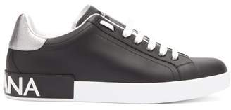 Dolce & Gabbana Logo Leather Low Top Trainers - Mens - Black
