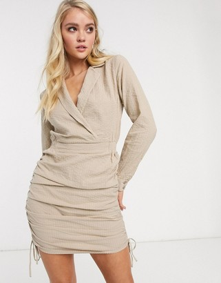 ASOS DESIGN mini shirt dress with ruched sides in stone
