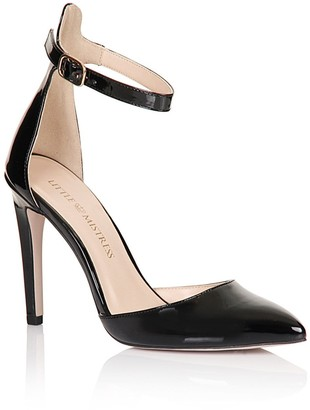 Linzi Little Mistress Footwear Black Pointed Ankle Strap Court Shoes