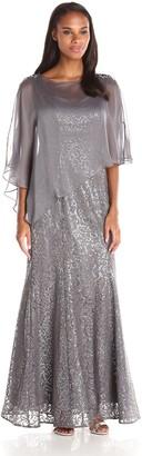 Ignite Women's Sheer Caplet Over Sutach Knit Evening Dress