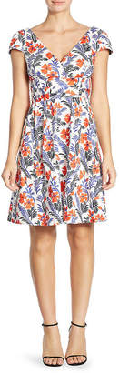 Carolina Herrera Floral V-Neck Dress