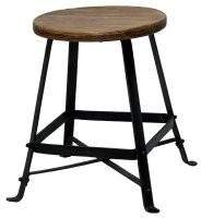 Bisque Recycled Wood Round Low Stool