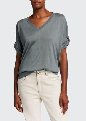 Brunello Cucinelli V-Neck Rolled Cap-Sleeve Cashmere/Silk Sweater