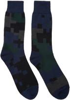 Sacai Black and Navy Camouflage Socks