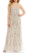 Adrianna Papell Floral Beaded Blouson Gown