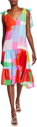 Tanya Taylor Donatella Colorblock Sleeveless Dress