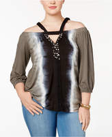 INC International Concepts Plus Size Embellished Cold-Shoulder Top, Created for Macy's
