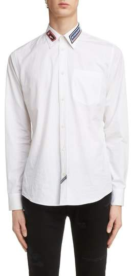 Givenchy Collar Patch Woven Sport Shirt
