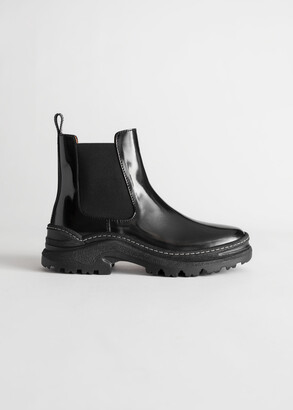 And other stories Chunky Platform Leather Chelsea Boots