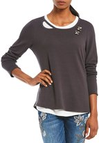 Democracy Embellished Details Tie Back Long Sleeve Layered Top