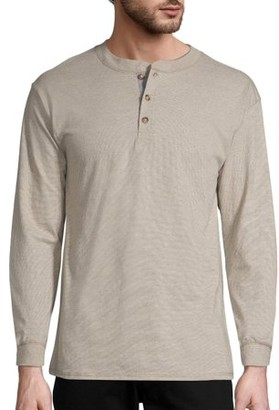 Hanes Men's and Big Men's Beefy Heavyweight Long Sleeve Three-Button Henley, Up To Size 3XL