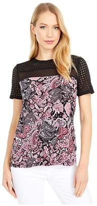 MICHAEL Michael Kors Paisley Crepe Combo Top (Geranium) Women's Clothing
