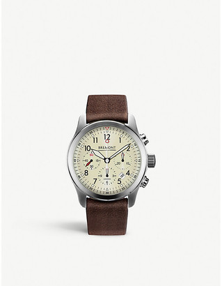 Selfridges T1084082203700 ALT1-P2 stainless steel chronograph leather strap watch