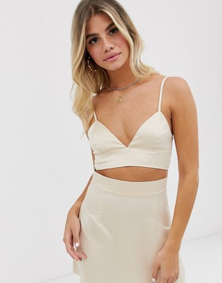In The Style x Fashion Influx satin crop top in cream
