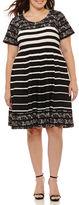 Robbie Bee Short Sleeve Stripe Fit & Flare Dress-Plus