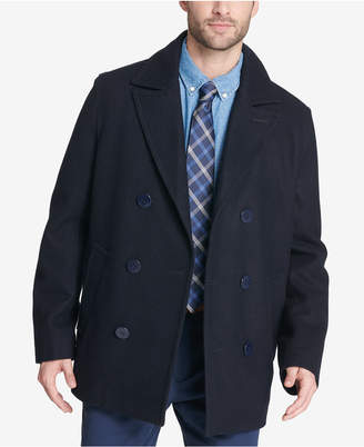 Tommy Hilfiger Men Big & Tall Peacoat with Scarf