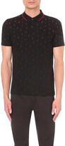 HUGO BOSS Geometric-print cotton-blend polo shirt
