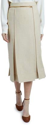 Victoria Beckham Tweed Chain-Waist Retro Skirt