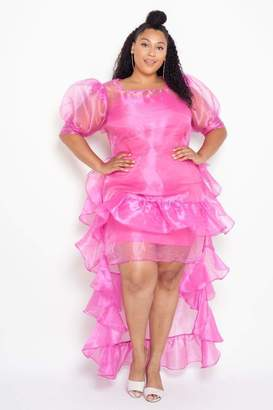 Couture Buxom Barbie Ruffled Organza Hi-Lo Party Dress in Pink Size 3X