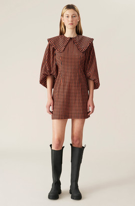 Ganni Seersucker Check Mini Dress